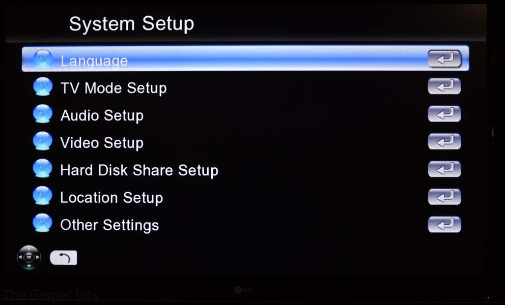 System Setup options