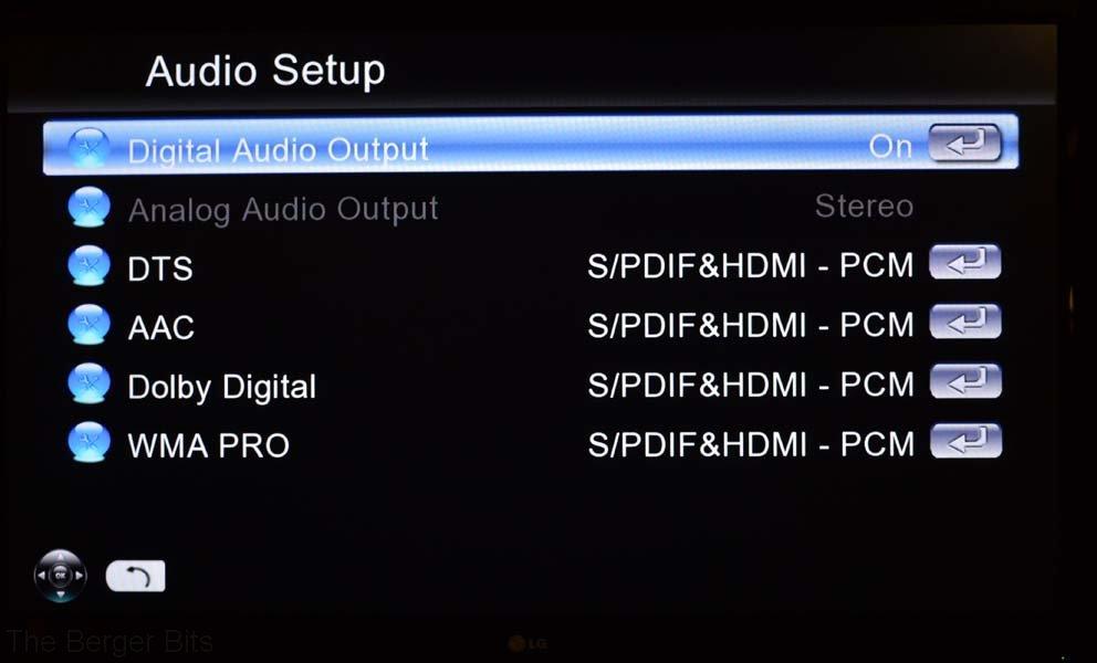Audio setup options
